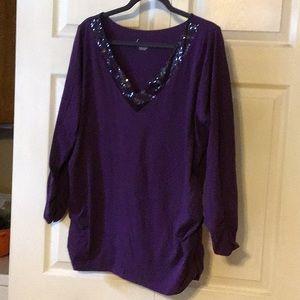 Purple Sequin v neck shirt 22/24